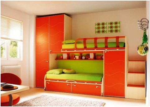 Оранжевый цвет в детской комнате: особенности, фото